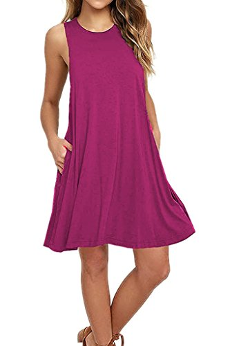Cotton Sleeveless Cover Up - Zalalus Casual Dress, Womens Sleeveless Summer Loose T-Shirt Swing Dresses With Pockets Tunic Short Shift Sundresses For Beach Travel Mauve X-Large US 14 16