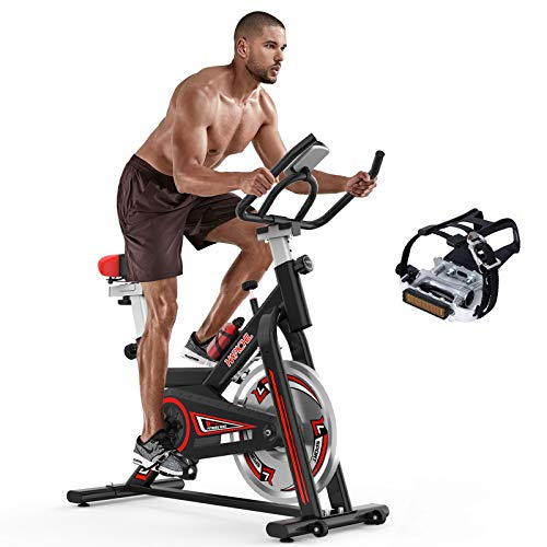HAPICHIL Exercise Bikes Indoor Cycling Stationary bike with 35lbs Flywheel, LCD Monitor, Tablet Holder & Comfortable…