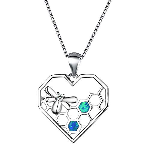 Kalapure 925 Sterling Silver Honeycomb Hive Queen Honey Bee Pendant Necklace for Women Girls Created Blue Opal Heart Necklace (Blue) (Double Designer Heart Crystal)