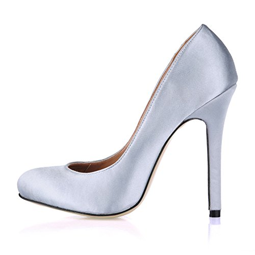 Barnizado Light La Jefe Ronda Negro Alto El Primavera Sabor Cuero Silk Gray Talón Zapatos Emulation De Fine EnxPnOq