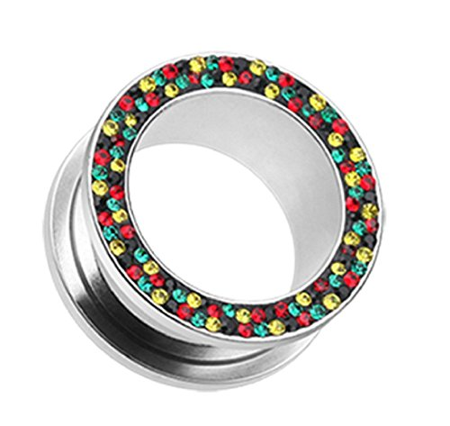 Multi-Sprinkle Dot Rasta Multi Gem Screw-Fit Ear Gauge Freedom Fashion Tunnel Plug (Sold by Pair) (00 GA, Rasta)