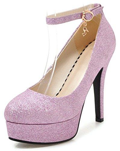 IDIFU Womens Sexy Ankle Strap Glitter Round Toe High Stiletto Heels Platform Pumps With Pendants Pink I3c8FL5v0d