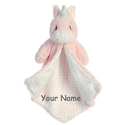 (Ebba Personalized Magical Unicorn Aria Luvster Plush Blanket for Baby Girl with Custom Name - 14 Inches)