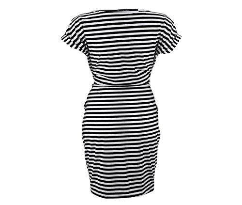 Plage Rayures Femme Noir de Vintage Cravate Longues Courtes Robe Taille Manches Ansenesna Boutique Ete Elegante Robes 2018 Casual qOxwpF