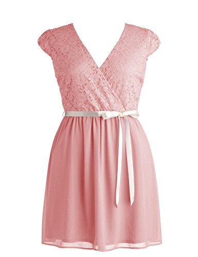 Dressystar Short V neck Bridesmaid Party Dress Gown with Sash Size 12 Blush