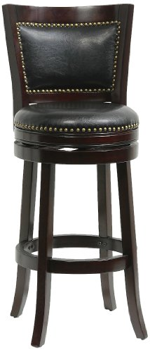 Boraam 42829 Bristol Bar Height Swivel Stool, 29-Inch, Cappuccino (Transitional Dinette Set)