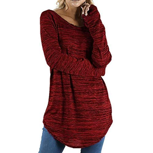 Clearance Women Tops Cinsanong Plus Size Shirt Blouse Solid Round Neck Long Sleeve Color Pullover