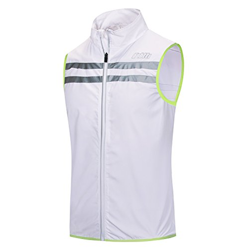 Bpbtti Men's Hi-Viz Safety Running Cycling Vest - Windproof and Reflective (Large - Chest 40-42