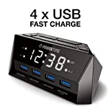 BEARE Alarm Clock Charging Station - w/QUAD USB Port iPhone/iPad/iPod/Android Phone Tablets