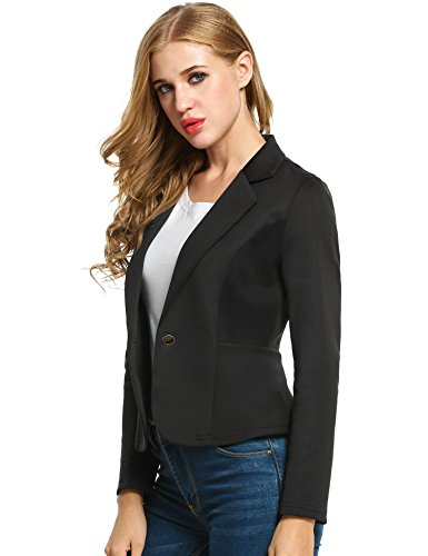 ANGVNS Women Long Sleeve One Button Shrink Waist Turn-down Collar Solid Slim OL Blazer Jacket,Black,Small