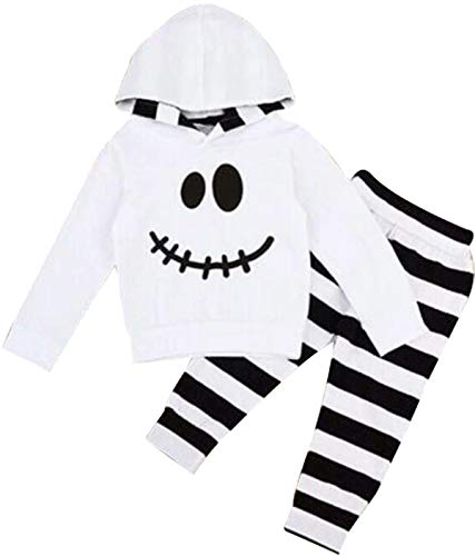 Baby Halloween Outfits Set Pumpkin Hoodie Tops Blouse +Striped Pants 2Pcs Clothes Set (White, 6-12 Months) -