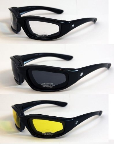 3 Pair Padded Motorcycle Riding Glasses Clear Smoked and Yellow Shatter Resistant Polycarbonate EVA Foam Padding to Protect From Sweat, Dirt, Dust Most popular and most comfortable of All Birdz - Eyewear Popular