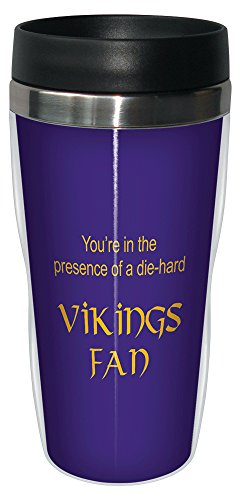 Tree-Free Greetings sg24125 Vikings Football Fan Sip 'N Go Stainless Steel Lined Travel Tumbler, 16-Ounce