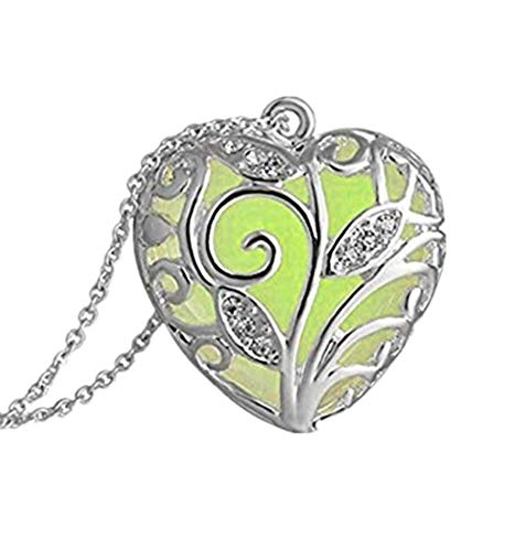 Necklace Freshwater Locket - Women Necklace Daoroka Magical Aqua Blue Tree Heart Glow in The Dark Locket Luminous Wicca Necklace Jewelry Valentines Gift (Length:49cm, Yellow)
