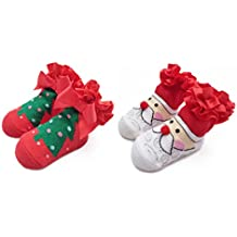 Ehdching First Christmas and Holiday Cotton Unisex Newborn Baby Infant Toddler Gift Socks