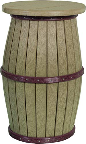 (Barrel Stool - Outdoor Poly Lumber Round Top in Counter Height in Cedar & Black - Amish Made in USA)