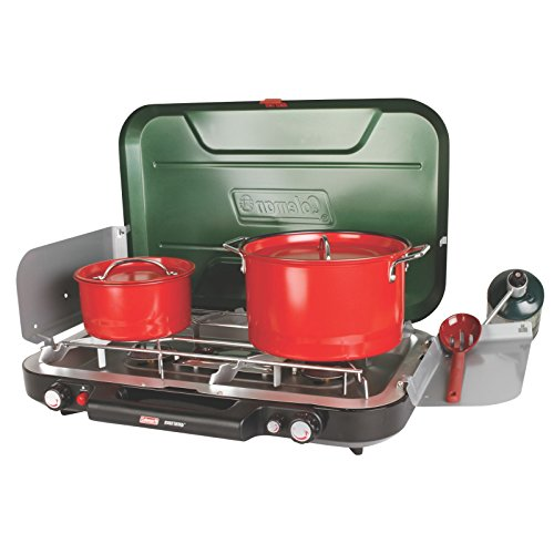 Coleman Eventemp 3-Burner Propane Stove for these Peanut Butter Chocolate Chip Camp Stove Pancakes