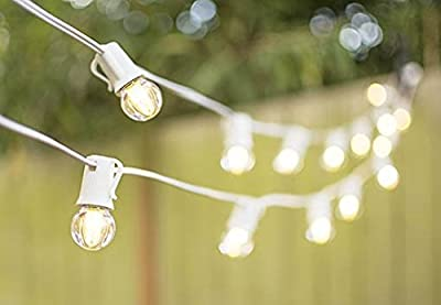 LED Globe String Lights, G30 Bulb, 50 Ft White C9 Strand, Warm White
