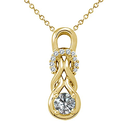 0.25 Carat G-H Diamond Fancy Love Knot Infinity Pendant Necklace With 18