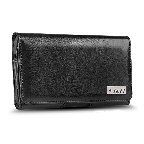 J&D Holster Compatible for iPhone 11 Pro/iPhone Xs/iPhone X/iPhone 8/iPhone 7 Holster, PU Leather Pouch with Belt Clip, Leather Wallet Case for Apple iPhone Xs Case (Fit with Bulky Case On) - Black