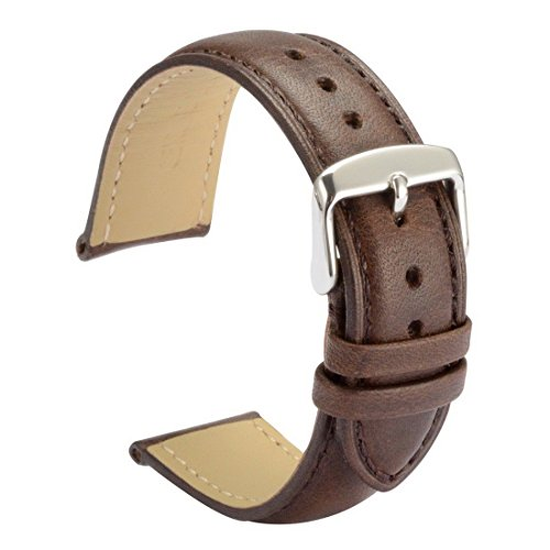 WOCCI Watch Bands 22mm Brown Leather Strap Vintage Series Replacement (Dark Brown with Tone on Tone Seam)