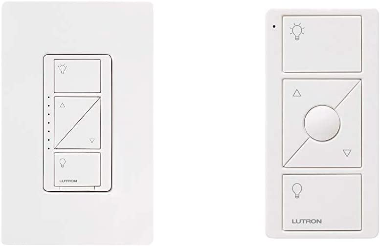 Lutron Caseta Smart Home Dimmer Switch with Wallplate and Remote | Works with Alexa, Apple HomeKit, and the Google Assistant | for LED Light Bulbs, Incandescent Bulbs and Halogen Bulbs | White
