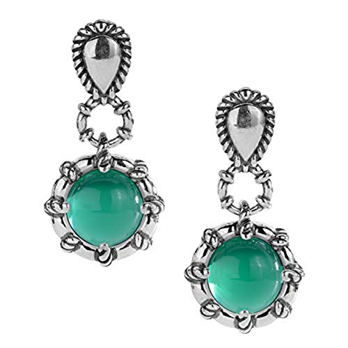 Carolyn Pollack Sterling Silver and Green Agate Drop Earrings