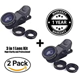 (Pack of 2) 3 in 1 Clip-On 180 Degree Supreme Fisheye Lens + 0.65X Wide Angle Lens + 10X Macro Lens for iPhone 7/6s/6s Plus/5/5S/SE/4 HTC Huawei and Other Smartphone