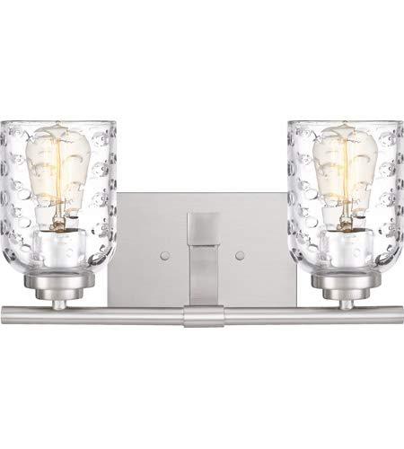 Quoizel CRI8602BN Cristal Bubble Cut Glass Bath Vanity Wall Lighting, 2-Light, 200 Watts, Brushed Nickel (7