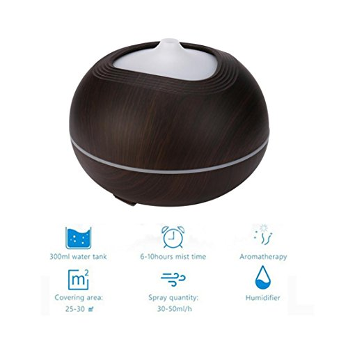 Fineser 300ml Aroma Essential Oil Diffuser, Wood Grain Ultrasonic Cool Mist Humidifier Air Atomizer with 7 Colors LED Soft Lights , for Office Home Bedroom Living Room Yoga Spa (Coffee) by Fineser (Image #1)