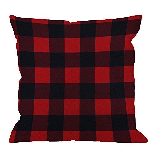HGOD DESIGNS Checkered Pillow Cover Case Cotton Linen Buffalo Check Plaid Cushion Cover Pillowcase for Men Women Kids Home Decorative Sofa Armchair Bedroom Livingroom 18 x 18 inch (Red) ()