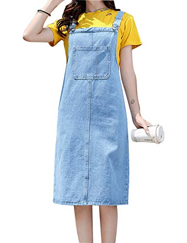 Omoone Women's Casual Strap Denim Pinafore Bib Overall A Line Dress with Pockets (Light Blue Long, S)