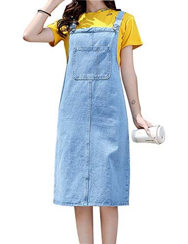 Omoone Women's Casual Strap Denim Pinafore Bib Overall A Line Dress with PocketsLight Blue Long-L