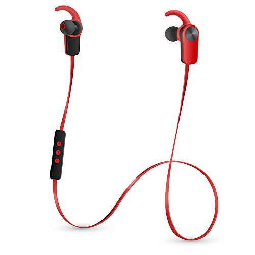 Photive PH-EB100 Sweat-Proof Wireless Bluetooth 4.1 Stereo Earbuds with Built in Microphone (Red)