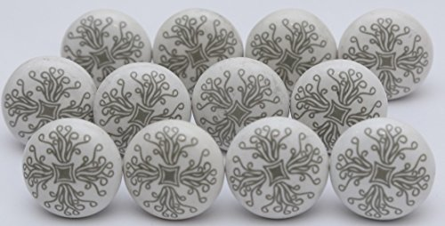 10 Grey Ceramic Flat White Drawer Pulls and Knobs Handmade Designer Set of 12 Silver Finish - Silver Knob Grey