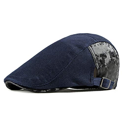 - Soultopxin Mesh Flat Cap Men Women Summer Beret Hats Stylish Camo Newsboy Cap (0142_Navy)