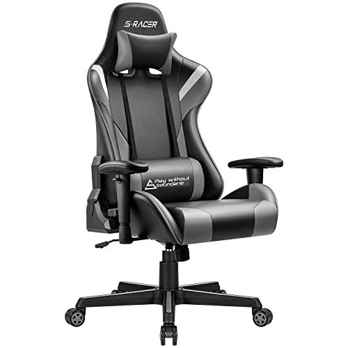 Homall Gaming Chair Office Racing Ergonomic Chair PC Computer Game Chair Adjustable Armrest High Back Executive Chair Bucket Seat Desk Chair Recliner Swivel Rocker with Headrest and Lumbar Pillow Gray