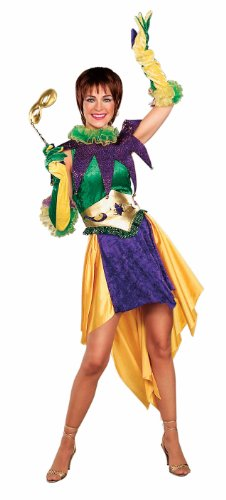 Forum Mardi Gras Miss Costume, Green/Gold/Purple, Adult