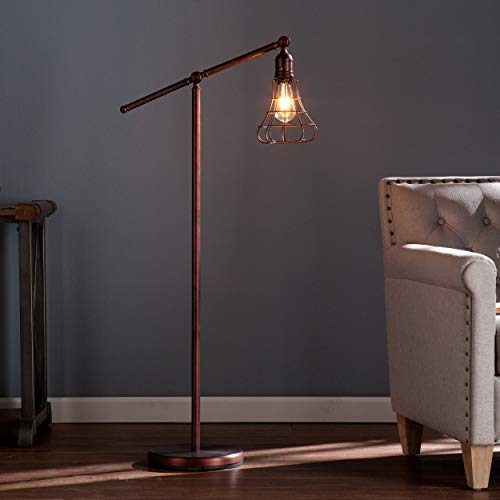(Steel Teige Floor Lamp (OS2415TL). With Rustic Edison Styled Led 150 W Bulb, A Pulley System With An Adjustable Lever That Rotates A Full 360 Degrees. Finish In Copper, Bronze.)