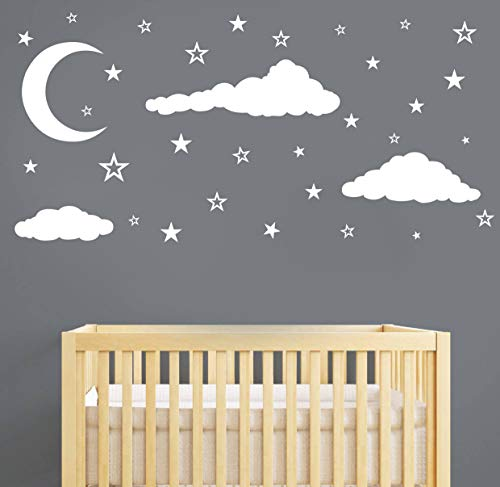 - Moon, Stars and Clouds Wall Decals, Kids Wall Decoration, Nursery Wall Decal, Wall Decal for Nursery, Vinyl Wall Stickers for Children Baby Kids Boys Girls Bedroom(Y08) (White)