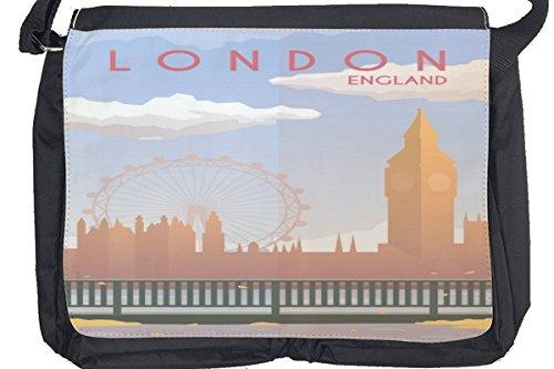 Borsa Tracolla Retro Arte Metropole Londra Inghilterra Stampato