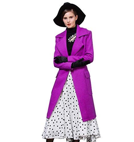 Longue Ceinture Fit Manches Baymate Bouton Violet Trenchcoat Femmes avec Slim Coat Pardessus Revers Longue qA00ISw7