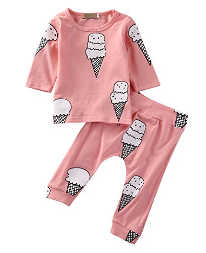 Baby Girls Ice Cream Long Sleeve T-shirt Pants 2PCS Outfits Set (0-6 Months, Pink)