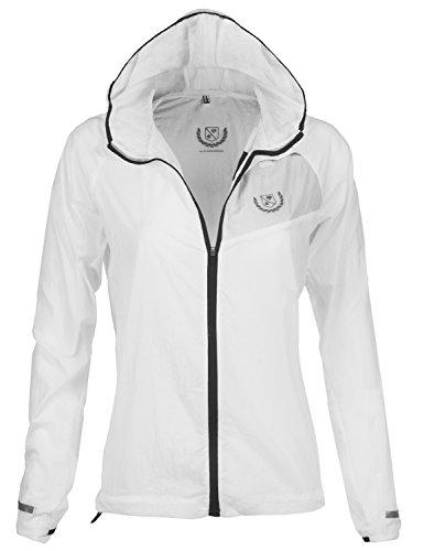 Waterproof Transparent Color Zipper Rain Jackets, 093 - White Black, Medium