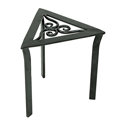 Achla Designs VTT-02 Triangular Trivet Wrought Iron Plant Stand, Graphite
