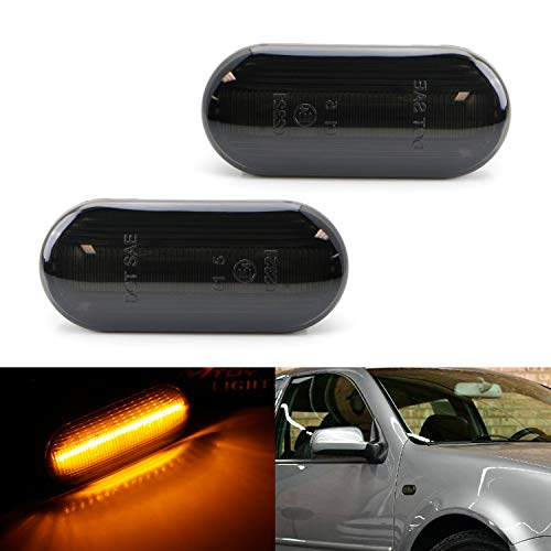 iJDMTOY Smoked Lens Amber Full LED Front Side Marker Light Kit For Volkswagen MK4 Jetta GTI R32 Beetle etc, Powered by 15-SMD LED, Replace OEM Sidemarker Lamps ()