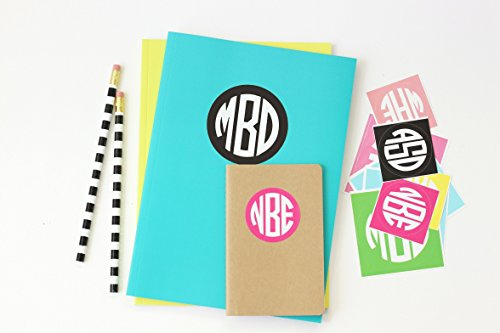 Preppy School Supplies (Personalized Round Monogram Stickers Kids Name Labels Custom School Supplies Notebook Label Monogram Folder Stickers Back to School)