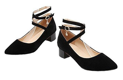 Allhqfashion Womens-heels Tacco A Spillo Massiccio Con Cinturino E Scarpe Chiuse Pompe Nere