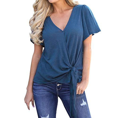 (NCCIYAZ Womens T-Shirt Short Sleeve Lace-up Knoted Front V Neck Top Ladies Slouch Loose Tee(XL(10),Blue))