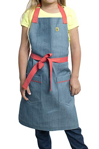 hedley & bennett Addy Jr. Kid's Apron - Blue Denim Color - Fits Children Ages 4 to 8 - Loved and Endorsed by Professional and Celebrity Chefs - Jr Chef Apron